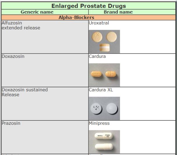 prostate drugs names